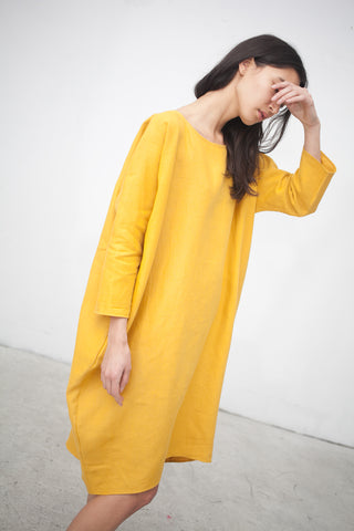 Rachel Craven Short Cocoon Dress in Turmeric | Oroboro Store | New York, NY