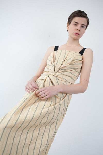 Caron Callahan Donna Dress in Yellow Pinstripe | Oroboro Store | Brooklyn, New York