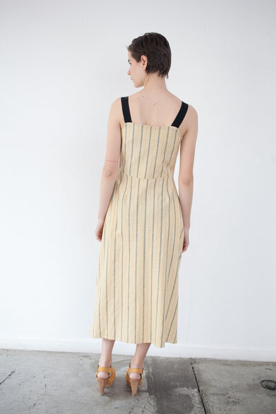 Donna Dress in Yellow Pinstripe