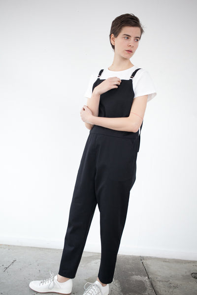 Base Range Long Strap Overall in Black | Oroboro Store | Brooklyn, New York