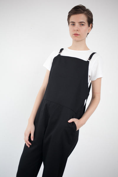 Long Strap Overall in Black