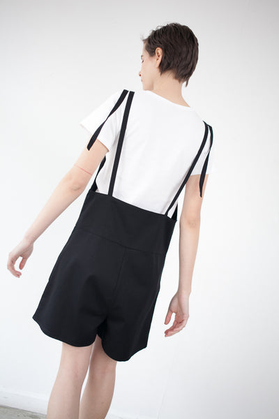 Short Strap Overall in Black