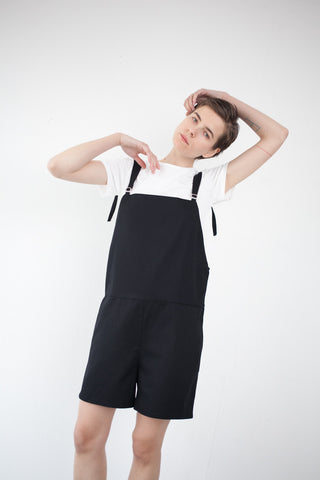Base Range Short Strap Overall in Black | Oroboro Store | Brooklyn, New York