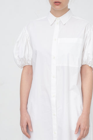 Ter et Bantine Shirt Dress with Balloon Sleeves in White | Oroboro Store | New York, NY