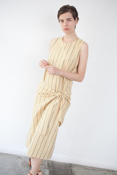 Mara Dress in Yellow Pinstripe