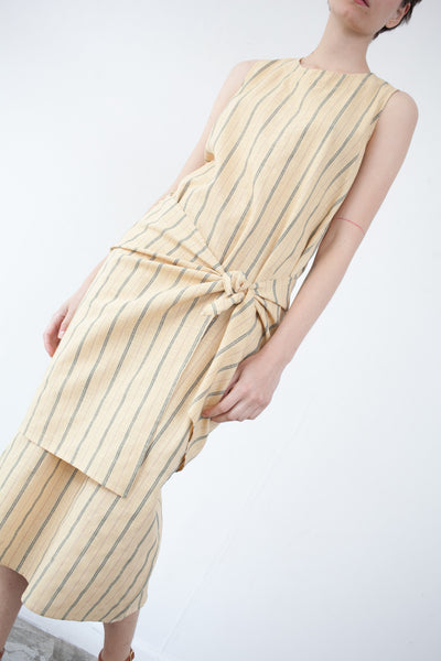 Caron Callahan Mara Dress in Yellow Pinstripe | Oroboro Store | Brooklyn, New York