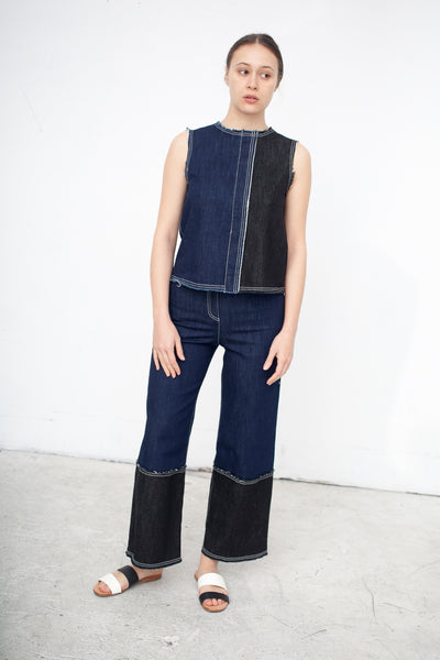 Denim Pant with Contrast Hem