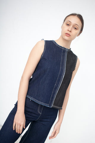 AVN Denim Top/Contrast in Denim | Oroboro Store | New York, NY