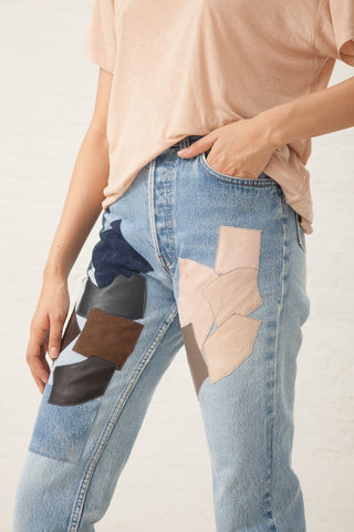 B Sides Vintage Leather Patchwork Jeans in Pink | Oroboro | New York, NY