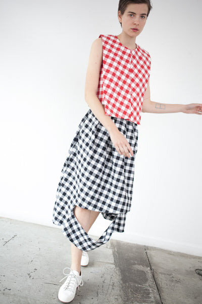 Cutout Skirt in Black Gingham
