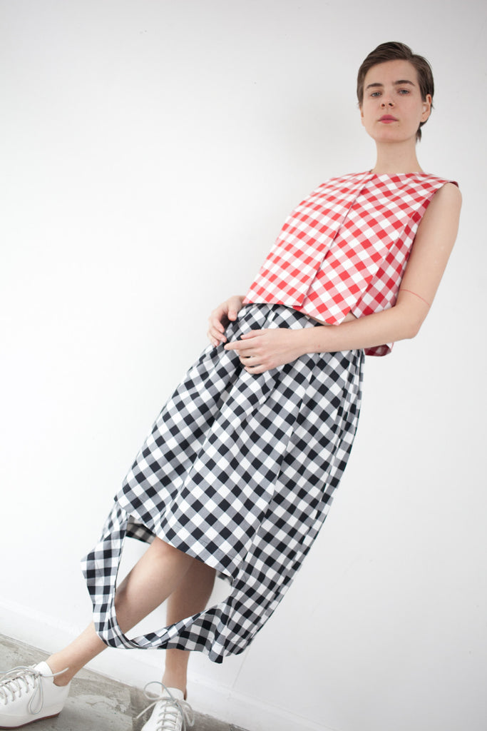 Nancy Stella Soto Cutout Skirt in Black Gingham | Oroboro Store | Brooklyn, New York