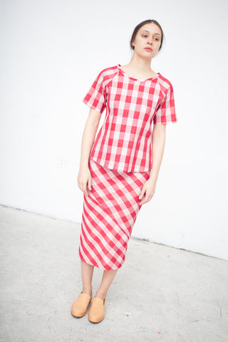 Caron Callahan Collette Skirt in Red Gingham | Oroboro Store | New York, NY