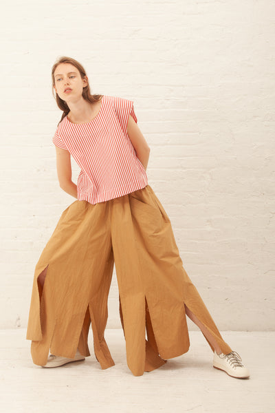 Nancy Stella Soto Plain Weave Cotton Pants in Camel | Oroboro Store | New York, NY