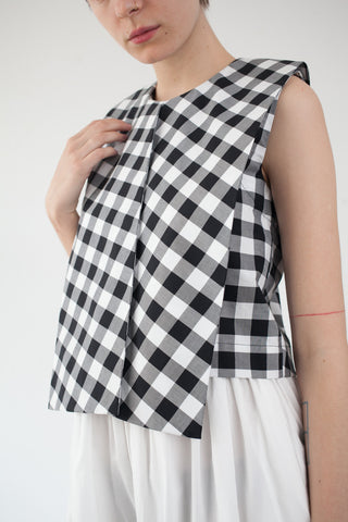 Nancy Stella Soto Sleeveless Top in Black Gingham | Oroboro Store | Brooklyn, New York