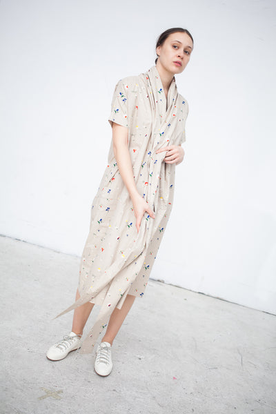 Caron Callahan Julien Dress in Meadow Floral Khaki | Oroboro Store | New York, NY