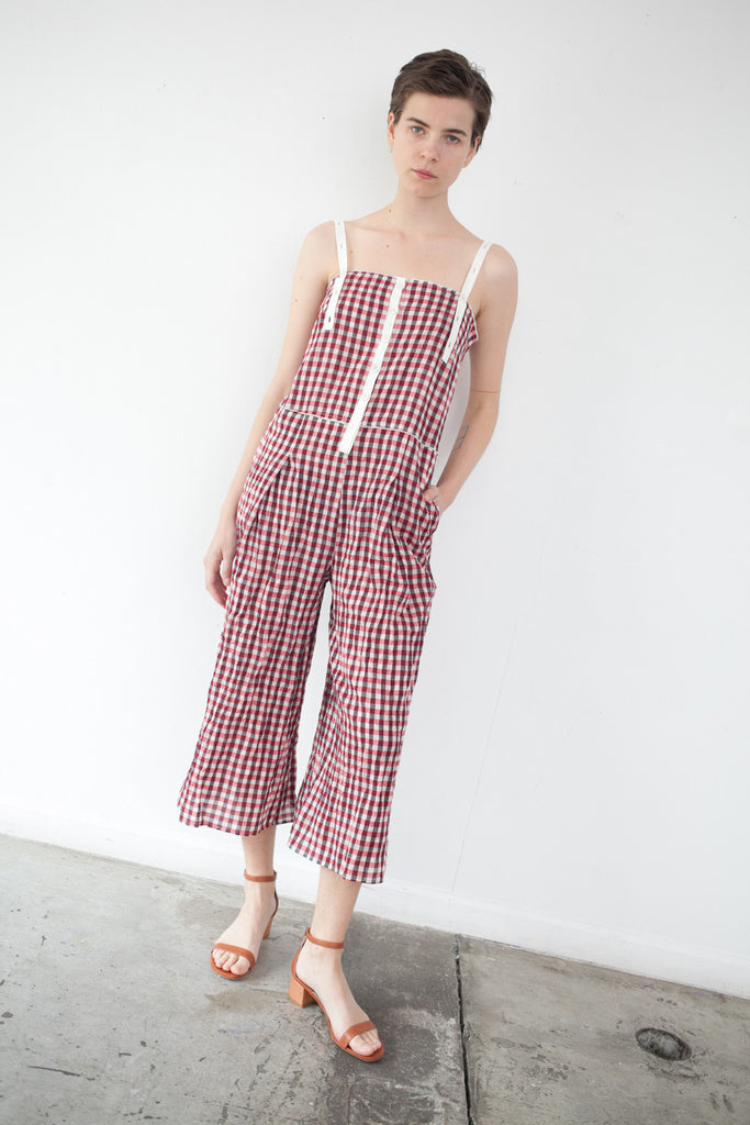 AVN Jumpsuit in Red Gingham | Oroboro Store | Brooklyn, New York