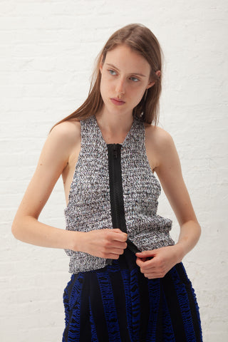 Luna Del Pinal Crochet Top with Zip in Black | Oroboro Store | New York, NY