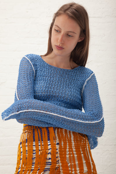 Luna Del Pinal Crochet Cropped Jumper in Blue | Oroboro Store | New York, NY