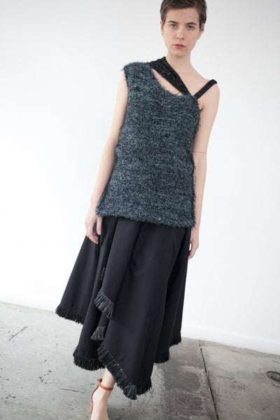 Textured Knit Asymmetrical Top in Black/Green