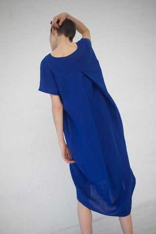 Black Crane Pleated Cocoon Dress in Royal | Oroboro Store | New York, NY