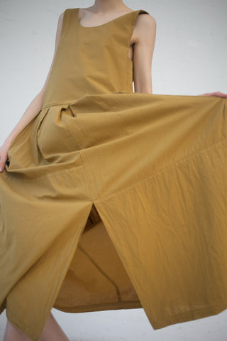 Black Crane Patched Dress in Mustard | Oroboro Store | New York, NY