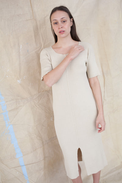 Cashmere Rib Dress in Almond
