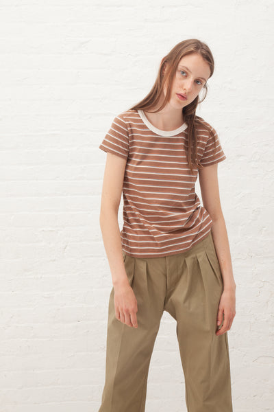 VISVIM Border Tee S/S Tight W in Brown | Oroboro Store | New York, NY