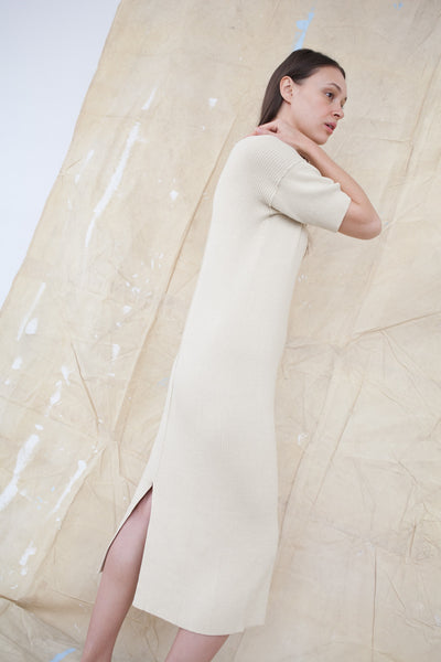 Lauren Manoogian Cashmere Rib Dress in Almond  | Oroboro Store | Brooklyn, New York