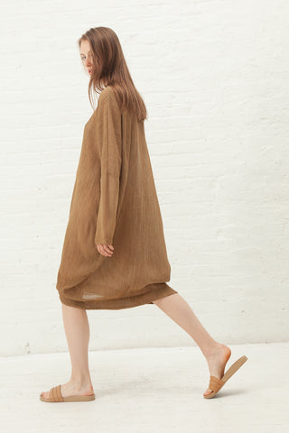 Black Crane Bud Dress in Coffee | Oroboro Store | New York, NY