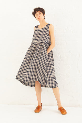 Ichi Antiquites Linen Gingham OP Dress in Navy | Oroboro Store | New York, NY