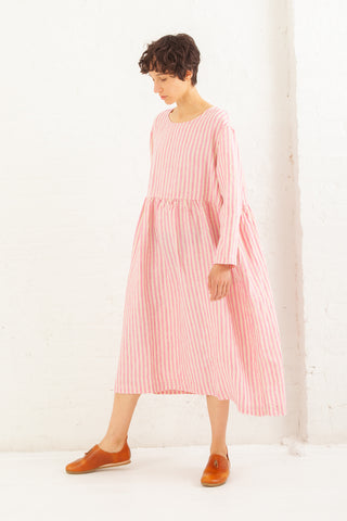 Ichi Antiquites Linen OP Dress in Pink | Oroboro Store | New York, NY