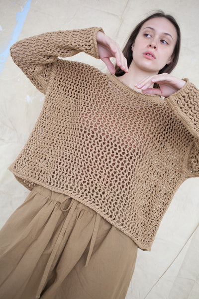 Net Pullover in Curry
