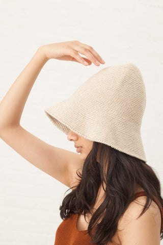 Lauren Manoogian Crochet Bell Hat in Natural | Oroboro Store | New York, NY