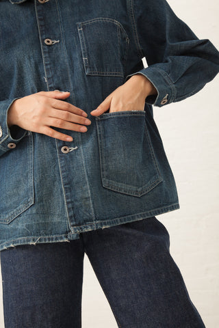 Chimala Denim Railroad Jacket Carpenter Selvedge Denim in Dark Wash | Oroboro | New York, NY