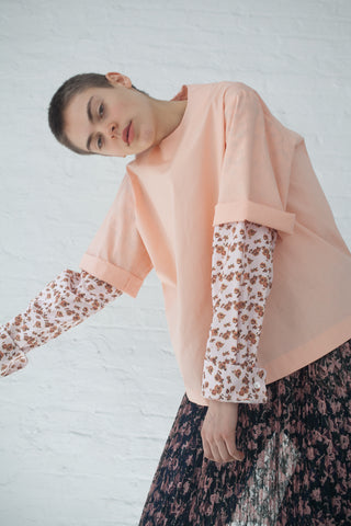 A Detacher Toby M Top in Solid Cotton Voile Peach | Oroboro Store | New York, NY