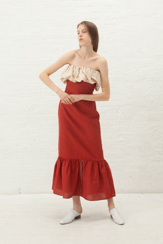 Rejina Pyo Allegra Dress Linen in Brick Red | Oroboro Store | New York, NY