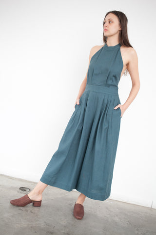 Jesse Kamm Halter Jumpsuit in Green Sea | Oroboro Store | Brooklyn, New York
