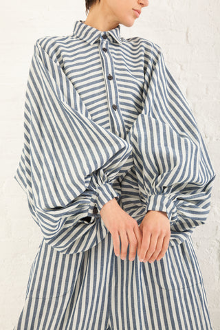 69 Poet's Shirt Striped Linen in Medium Wash | Oroboro Store | New York, NY