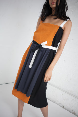 Side Stripe Dress in Tumeric with Black Stripe