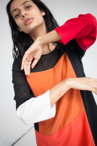 Correll Correll Stopa Dress in Black Orange Red and White | Oroboro Store | Brooklyn, New York