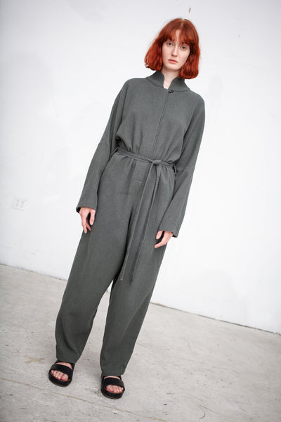 Black Crane High Neck Jumpsuit in Dark Grey | Oroboro Store | New York, NY