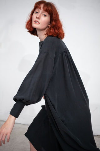 Black Crane Lantern Dress in Dark Green | Oroboro Store | New York, NY