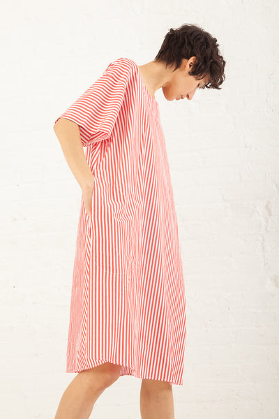 Nancy Stella Soto Striped Cotton Long Shirt in Red with White | Oroboro Store | New York, NY