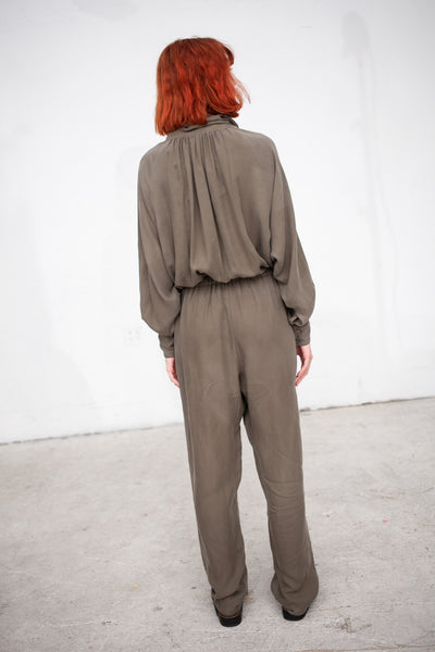 Black Crane Gathered Jumpsuit in Sand | Oroboro Store | New York, NY