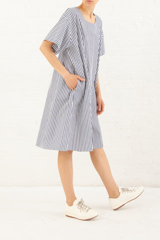 Nancy Stella Soto Striped Cotton Long Shirt in Blue with White | Oroboro Store | New York, NY
