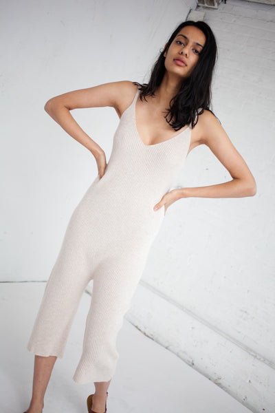 Ribbed Jumpsuit in Heather Palomino