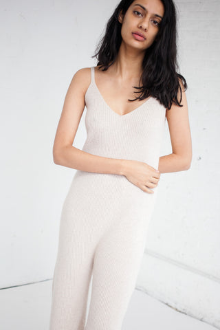 Ryan Roche Ribbed Jumpsuit in Heather Palomino | Oroboro Store | Brooklyn, New York