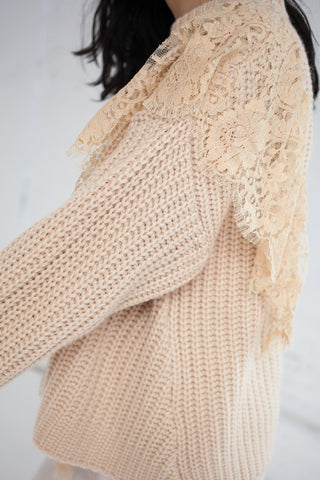 Ryan Roche Oversized Sweater with Lace Insert in Wheat | Oroboro Store | Brooklyn, New York