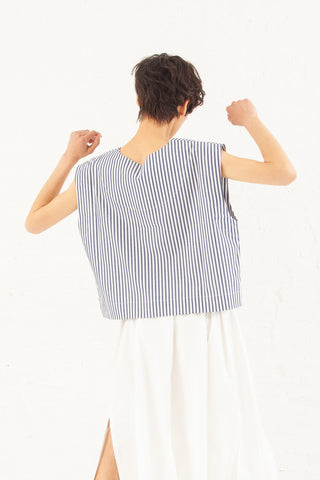 Nancy Stella Soto Striped Cotton Tank Top in Blue with White | Oroboro Store | New York, NY