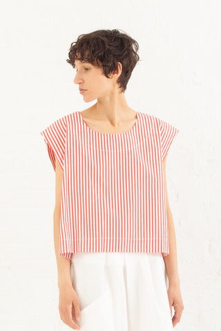 Nancy Stella Soto Striped Cotton Tank Top in Red with White | Oroboro Store | New York, NY